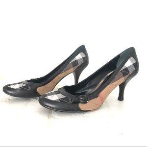 BURBERRY plaid heels shoes 38 1/2 8.5 nova check